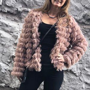 Fun & Fuzzy Beige Tassel Faux Fur Jacket
